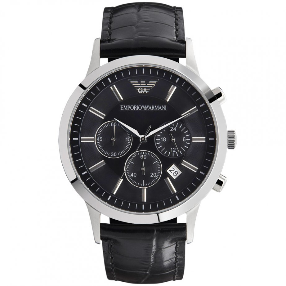AR2447 Gents Stainless Steel Black Leather Armani Watch