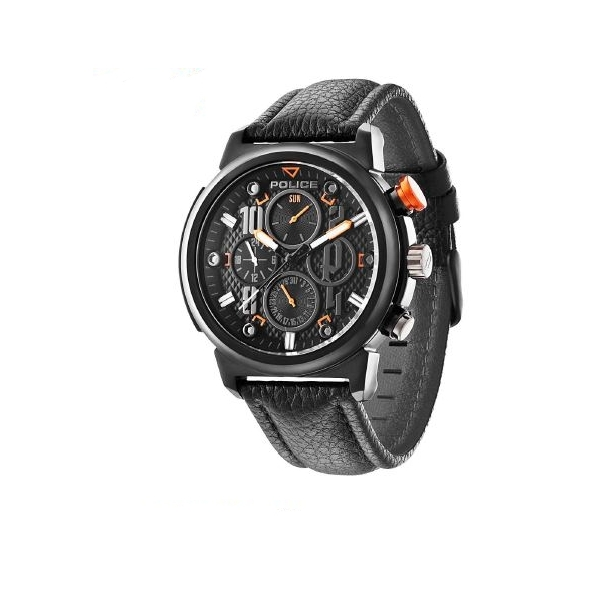 Police Boa Men's Quartz Watch with Black Dial Analogue Display and Black Leather Strap