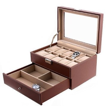 Songmics Watch Storage Box Jewellery Organiser Case Bracelet Bangle Display Tray Case (10 watches)