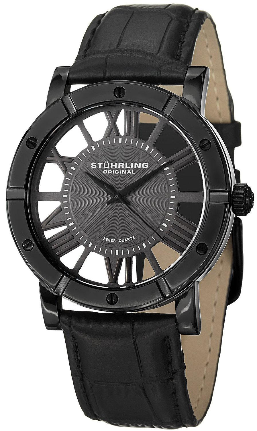 Stuhrling Original Classic Winchester Advanced Men's Quartz Watch with Black Dial Analogue Display and Black Leather Strap 881.02