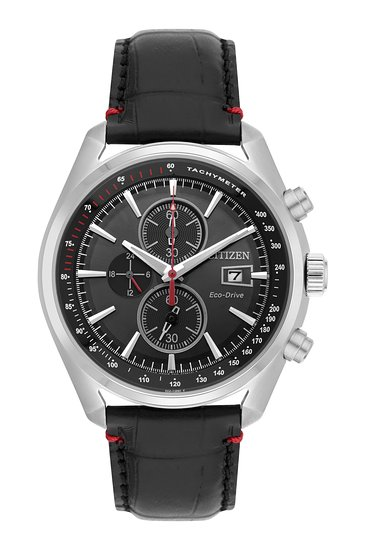 Citizen Men's Eco Drive Watch with Black Dial Analogue Display and Black Leather Bracelet