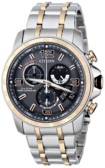Citizen Watch Chronotime At Men's Quartz Watch with Grey Dial Analogue Display and Stainless Steel Bracelet BY0106-55H