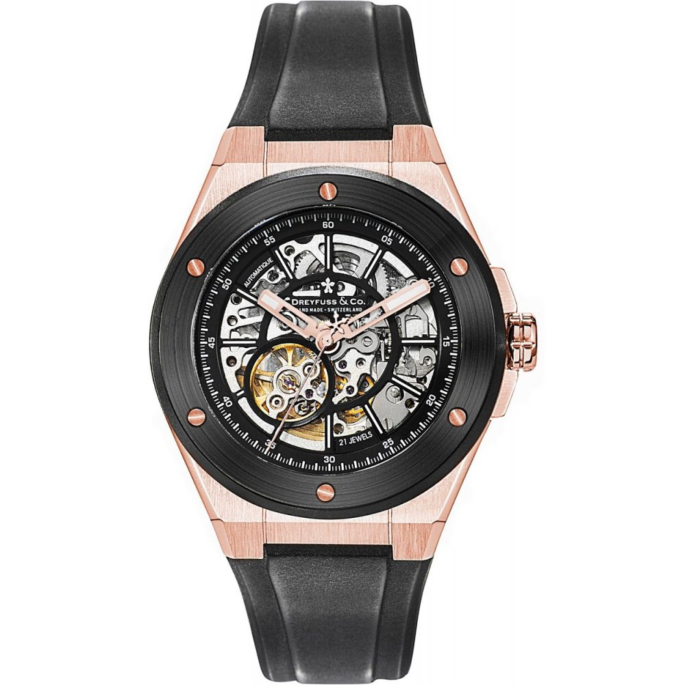 Dreyfuss Men's 1890 41mm Black Leather Band Rose Gold IP Case Automatic Transparent Dial Watch