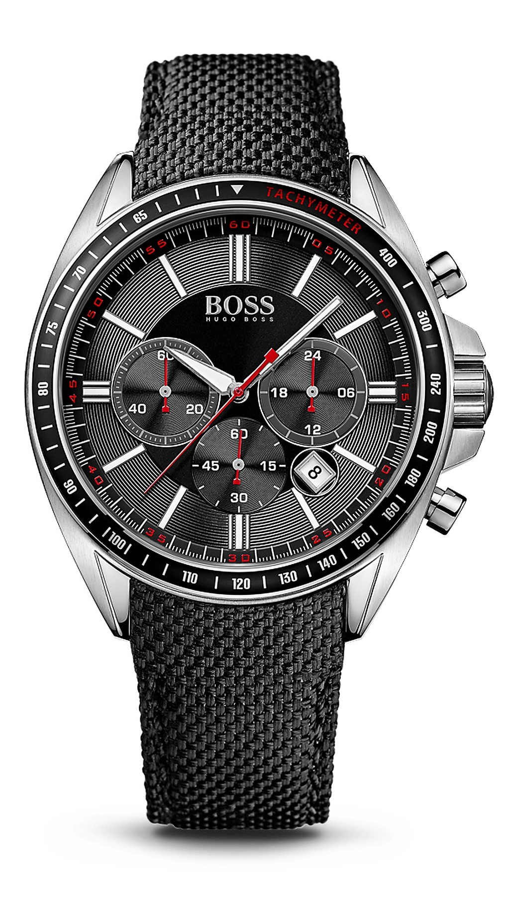 Hugo Boss Men's 44mm Black Nylon Band Steel Case Quartz Analog Watch 1513087
