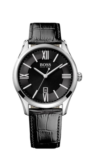 Hugo Boss Men's Leather Band Steel Case Quartz Black Dial Analog Watch 1513022