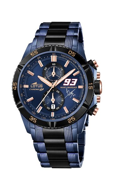 Lotus Marc Marquez 2015 Limited Edition Men's Quartz Watch with Blue Dial Chronograph Display and Two Tone Stainless Steel Plated Bracelet