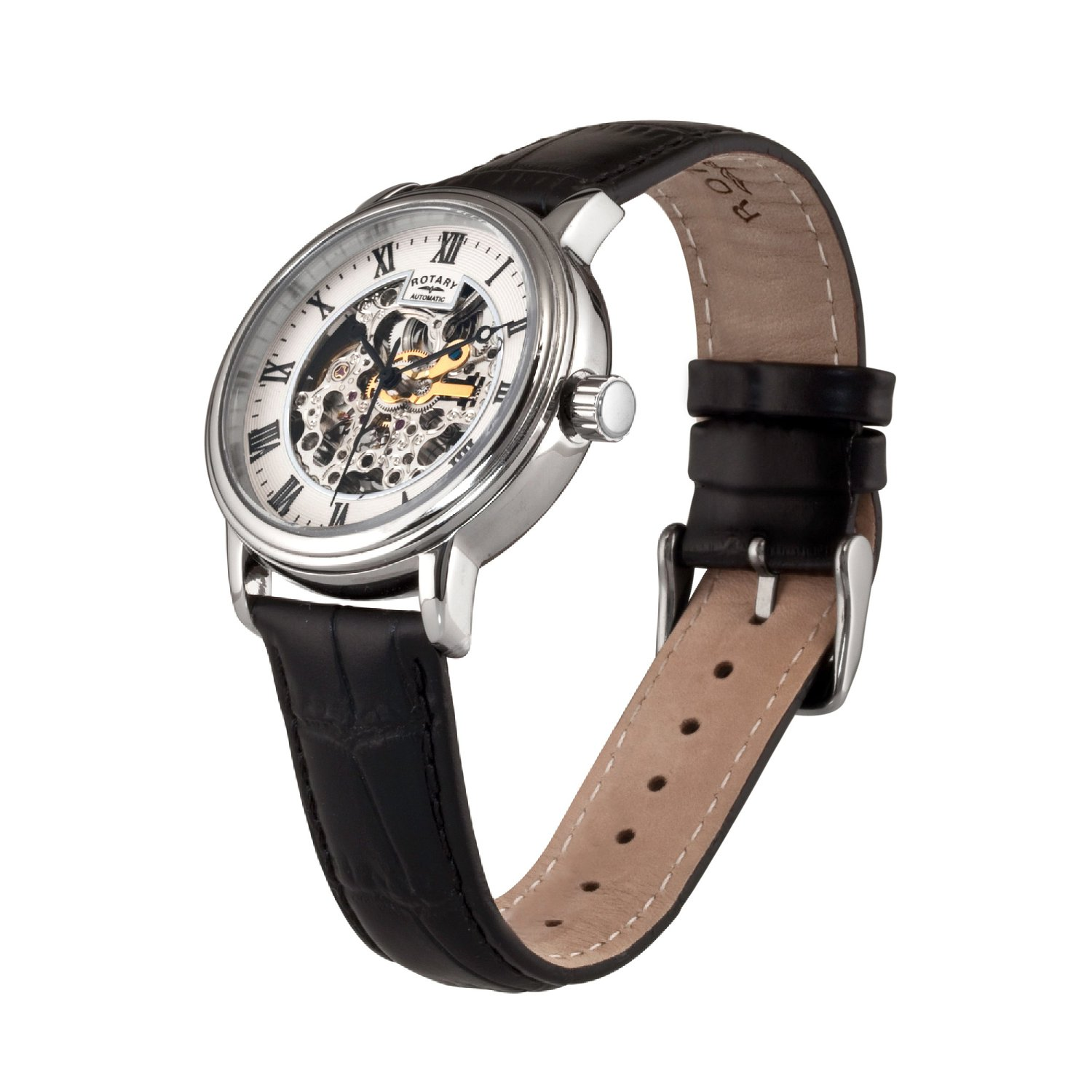 Rotary Men's Automatic Watch with White Dial Analogue Display and Black Leather Strap