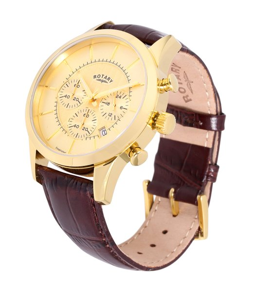 Rotary Timepieces Men's Quartz Watch with Gold Dial chronograph Display and Brown Leather Strap