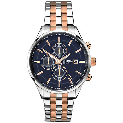 Sekonda Men's Quartz Watch with Blue Dial Chronograph Display and Two Tone Stainless Steel Bracelet 1107.27