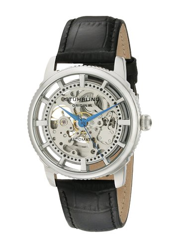 Stuhrling Original Winchester Skeleton Men's Automatic Watch with Silver Dial Analogue Display and Black Leather Strap 393.33152
