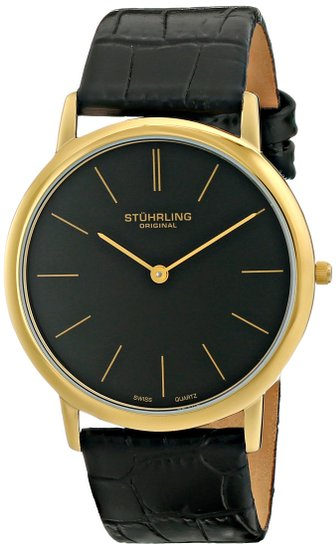 Stuhrling Original Classic Ascot Men's Quartz Watch with Black Dial Analogue Display and Black Leather Strap 601.33351.A