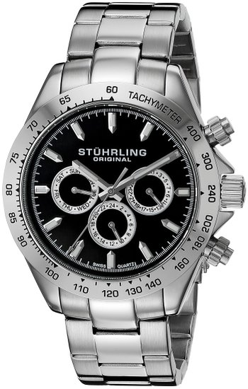 Stuhrling Original Octane Raceway Men's Quartz Watch with Black Dial Analogue Display and Silver Stainless Steel Bracelet 564.02