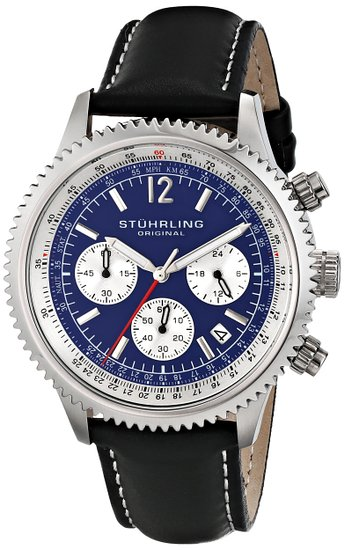 Stuhrling Original Monaco Men's Quartz Watch with Blue Dial Analogue Display and Black Leather Strap 669.02