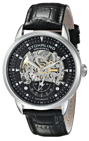 Stuhrling Original Symphony Aristocrat Executive Men's Automatic Watch with Black Dial Analogue Display and Black Leather Strap 133.33151