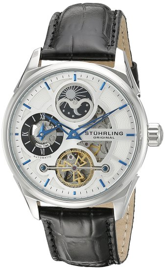 Stuhrling Original Delphi Men's Automatic Watch with Silver Dial Analogue Display and Black Leather Strap 657.01