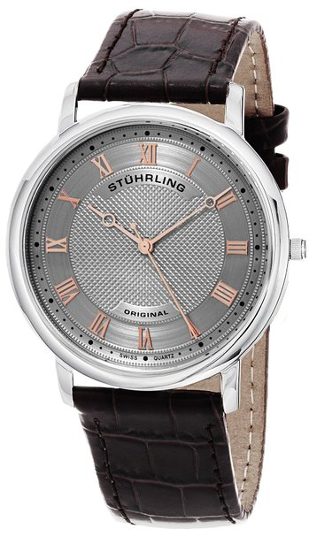 Stuhrling Original Symphony Classique 45 Men's Quartz Watch with Grey Dial Analogue Display and Brown Leather Strap 645.02