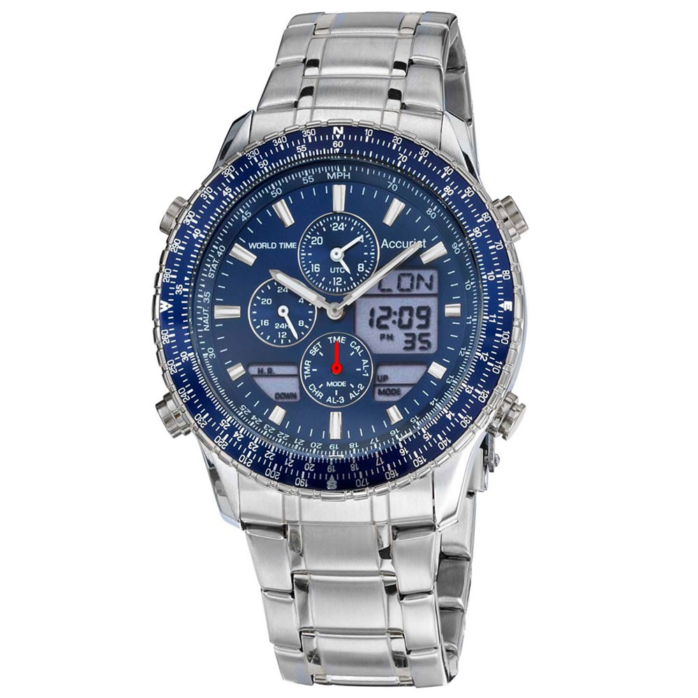 Accurist Men's Quartz Watch with Blue Dial Analogue - Digital Display and Silver Stainless Steel Bracelet MB1032N