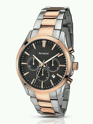 Accurist Men's Quartz Watch with Black Dial Chronograph Display and Two Tone Stainless Steel Rose Gold Plated Bracelet MB643B