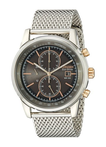 Citizen Watch Mesh Men's Quartz Watch with Grey Dial Chronograph Display and Silver Stainless Steel Bracelet CA0336-52H
