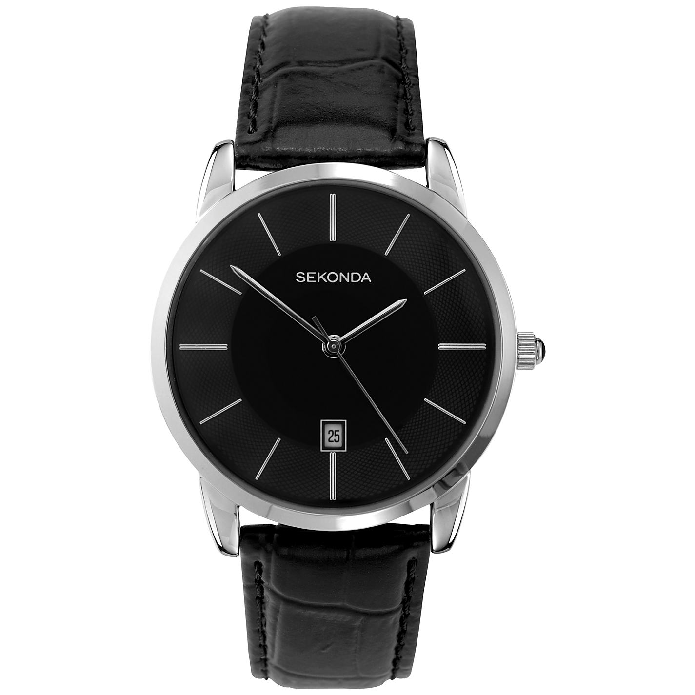 Sekonda Men's Quartz Watch with Black Dial Analogue Display and Black Leather Strap 3346.27