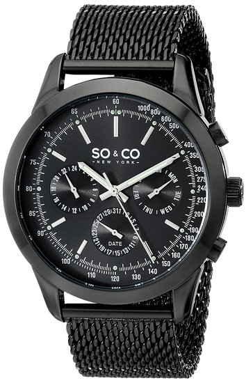 So & Co New York Monticello Men's Quartz Watch with Black Dial Analogue Display and Black Stainless Steel Bracelet 5006A.3
