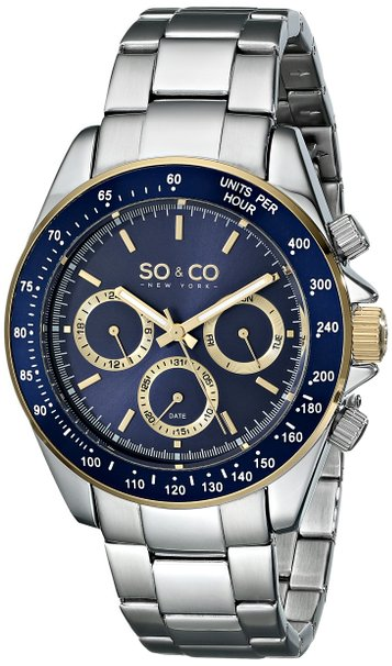 So & Co New York Monticello Men's Quartz Watch with Blue Dial Analogue Display and Silver Stainless Steel Bracelet 5010B.3