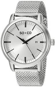 So & Co New York Madison Men's Quartz Watch with Silver Dial Analogue Display and Silver Stainless Steel Bracelet 5207.1