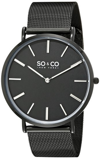 So & Co New York Madison Men's Quartz Watch with Black Dial Analogue Display and Black Stainless Steel Bracelet 5102.3