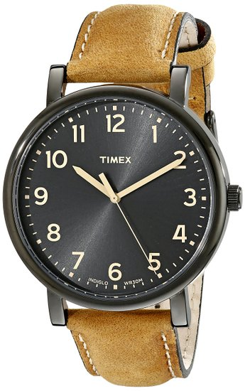 Timex Original Unisex Quartz Watch with Black Dial Analogue Display and Brown Leather Strap - T2N677