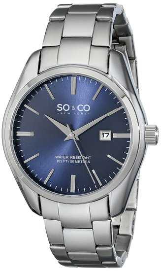 So & Co New York Madison Men's Quartz Watch with Blue Dial Analogue Display and Silver Stainless Steel Bracelet 5101.3
