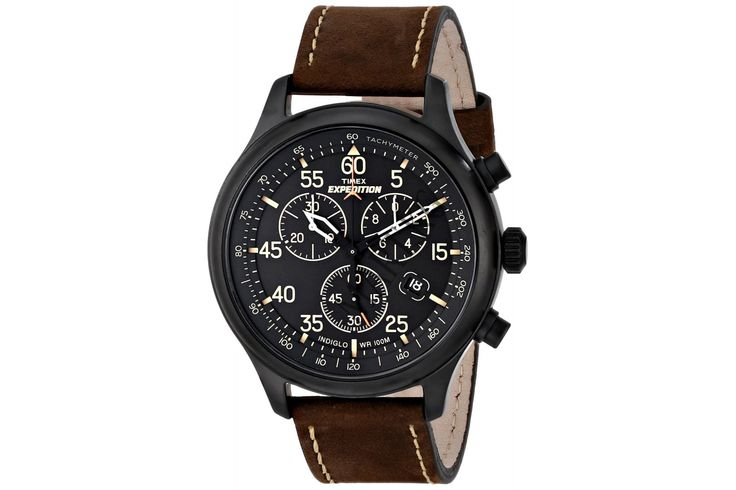 Timex Expedition Men's Quartz Watch with Brown Dial Chronograph Display and Brown Leather Strap - T49905
