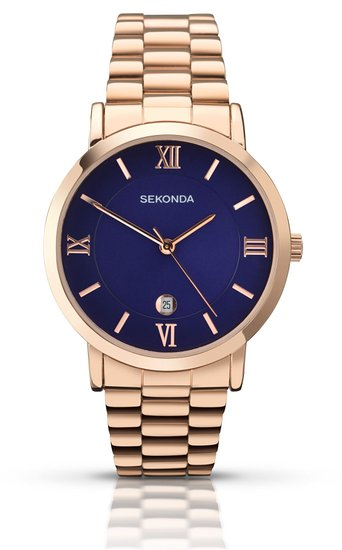 Sekonda Men's Quartz Watch with Blue Dial Analogue Display and Gold Stainless Steel Bracelet 1090.27