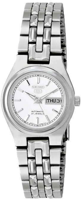 Seiko Women's SYM787K Silver Stainless-Steel Automatic Watch with White Dial