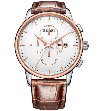 BUREI Hideo Men's Day and Date Quartz Rose Gold-Tone Watch with White Dial Chronograph Display and Brown Leather Strap