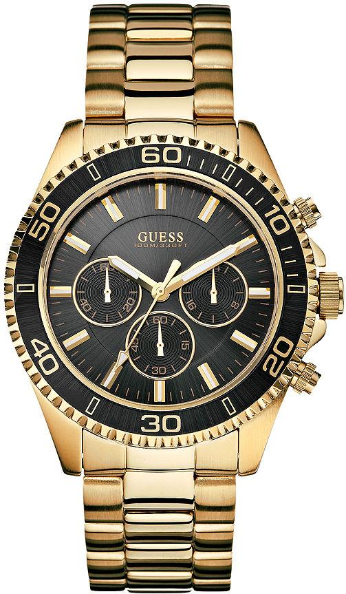 Guess Men's 45mm Chronograph Gold Tone Steel Bracelet Acrylic Date Watch U0170G2