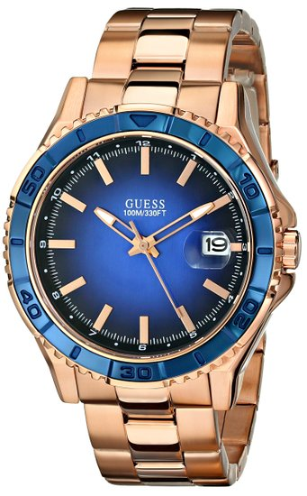 Guess Men's U0244G3 Rose-Gold Stainless-Steel Quartz Watch with Blue Dial