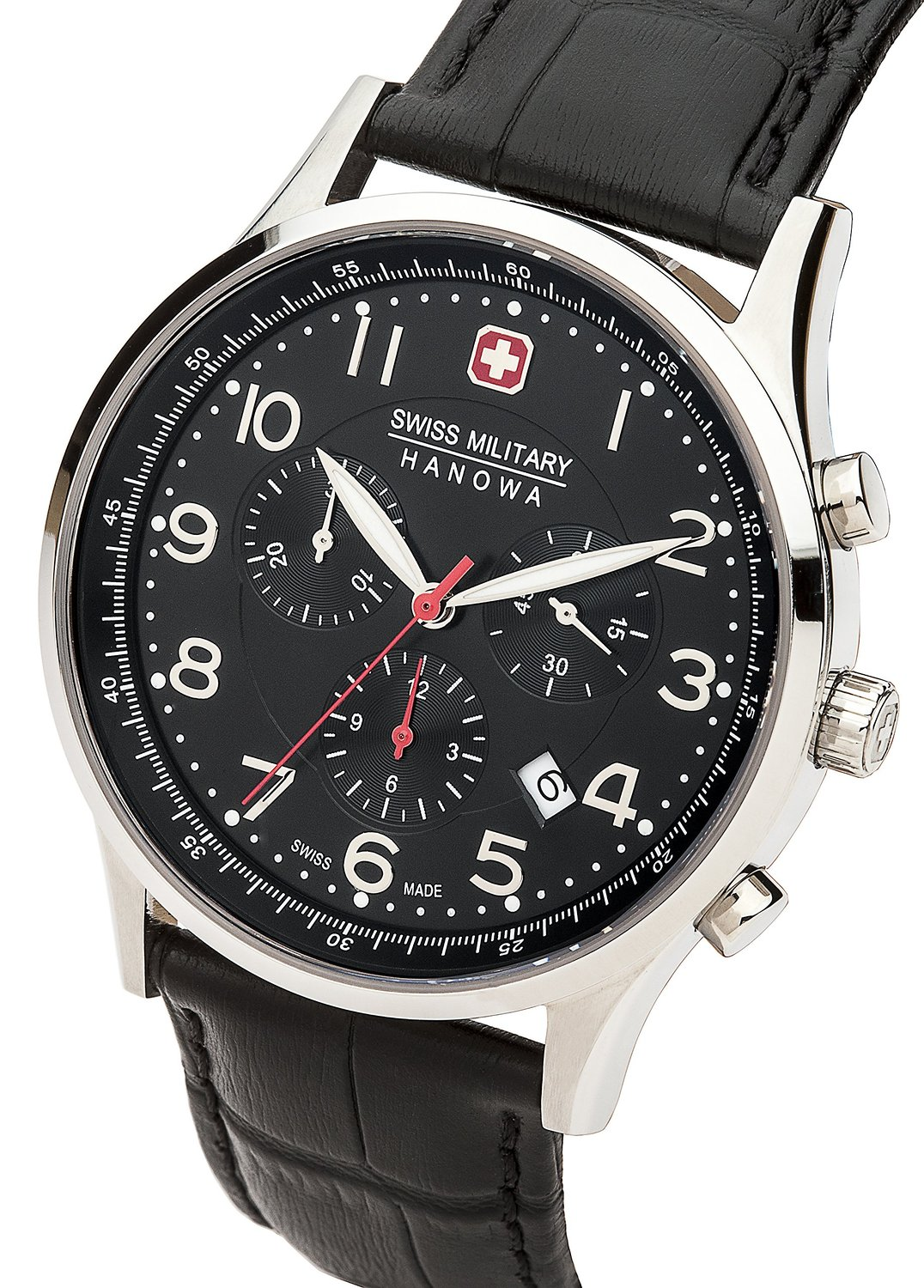 Swiss Military Hanowa Men's Quartz Watch 06-4187.04.007 06-4187.04.007 with Leather Strap