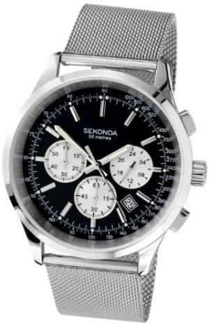 Sekonda Men's Quartz Watch with Black Dial Chronograph Display and Silver Stainless Steel Bracelet 3415.27