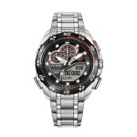 Citizen Watch PROMASTER SUPER SPORT men's quartz Watch with black Dial analogue - digital Display and silver stainless steel Bracelet JW0111-55E