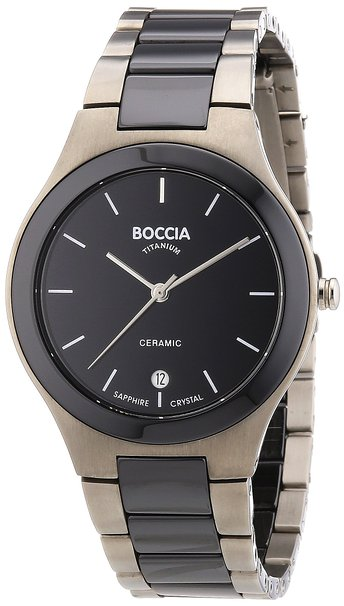 Boccia Men's Quartz Watch with Black Dial Analogue Display and Black Titanium Bracelet B3564-02