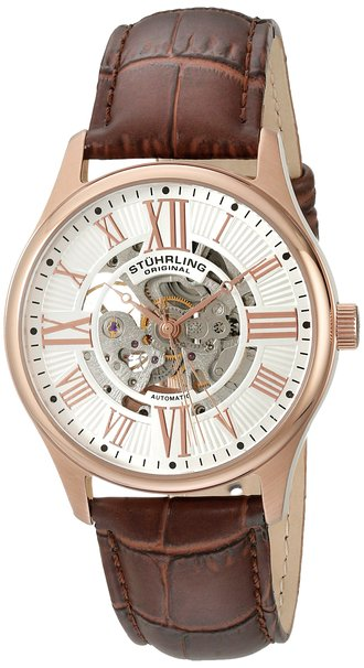 Stuhrling Original Classique Delphi Atrium Men's Automatic Watch with White Dial Analogue Display and Brown Leather Strap 747.04