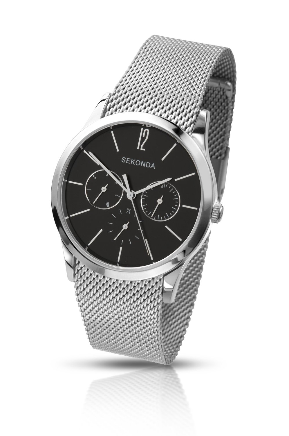 Sekonda Men's Quartz Watch with Black Dial Analogue Display and Silver Stainless Steel Bracelet 3440.27