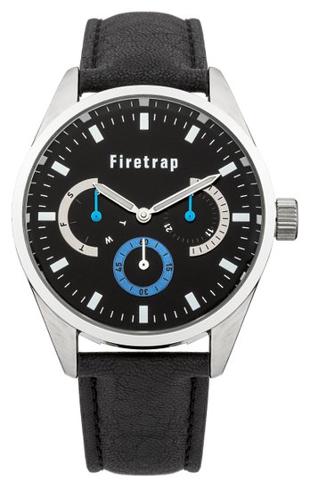 Firetrap Men's Quartz Watch with Black Dial Analogue Display and Black PU Strap FT2010BL
