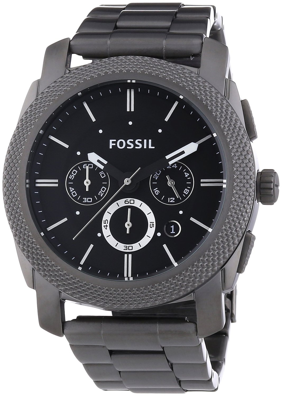 Fossil Men's Machine Chronograph Watch Fs4662 With Black Dial And Smokey Grey Case And Bracelet