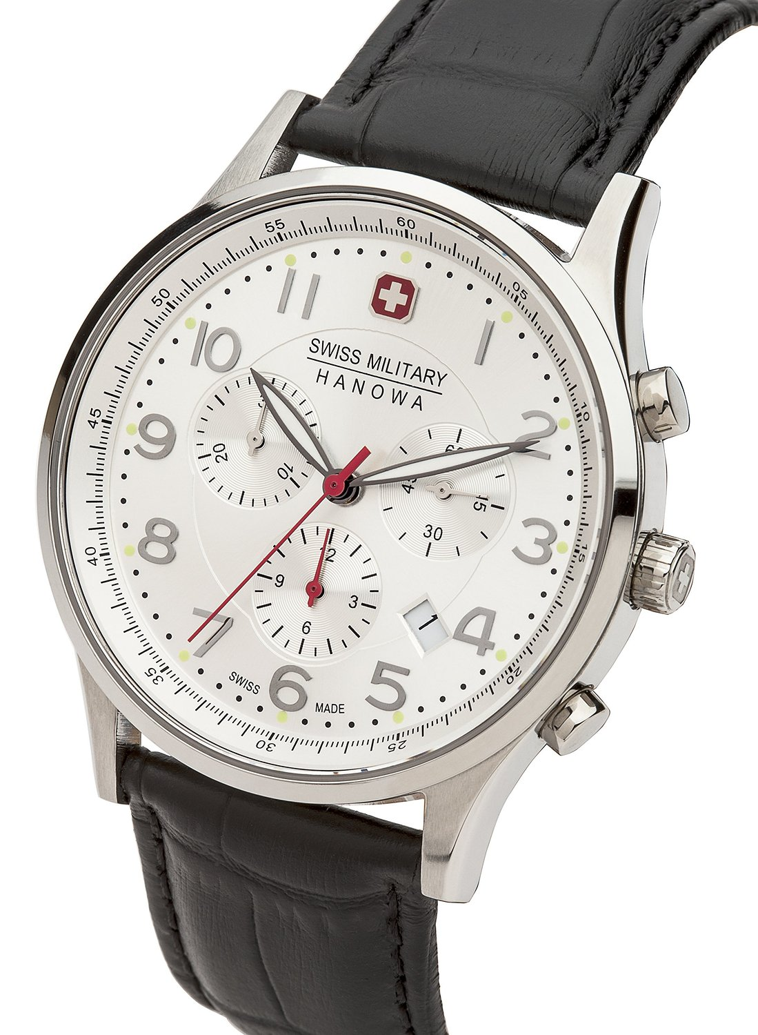 Swiss Military Patriot Men's Quartz Watch with Silver Dial Chronograph Display and Black Leather Strap 6-4187.04.001