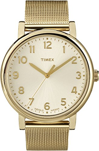 Timex Original Unisex Quartz Watch with Gold Dial Analogue Display and Stainless Steel Bracelet - T2N598PF