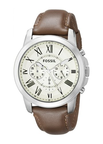 Fossil Men's Quartz Watch Grant FS4735 with Leather Strap