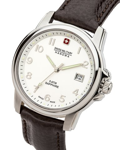 Swiss Military Swiss Soldier Prime Men's Quartz Watch with Silver Dial Analogue Display and Brown Leather Strap 6-4231.04.001