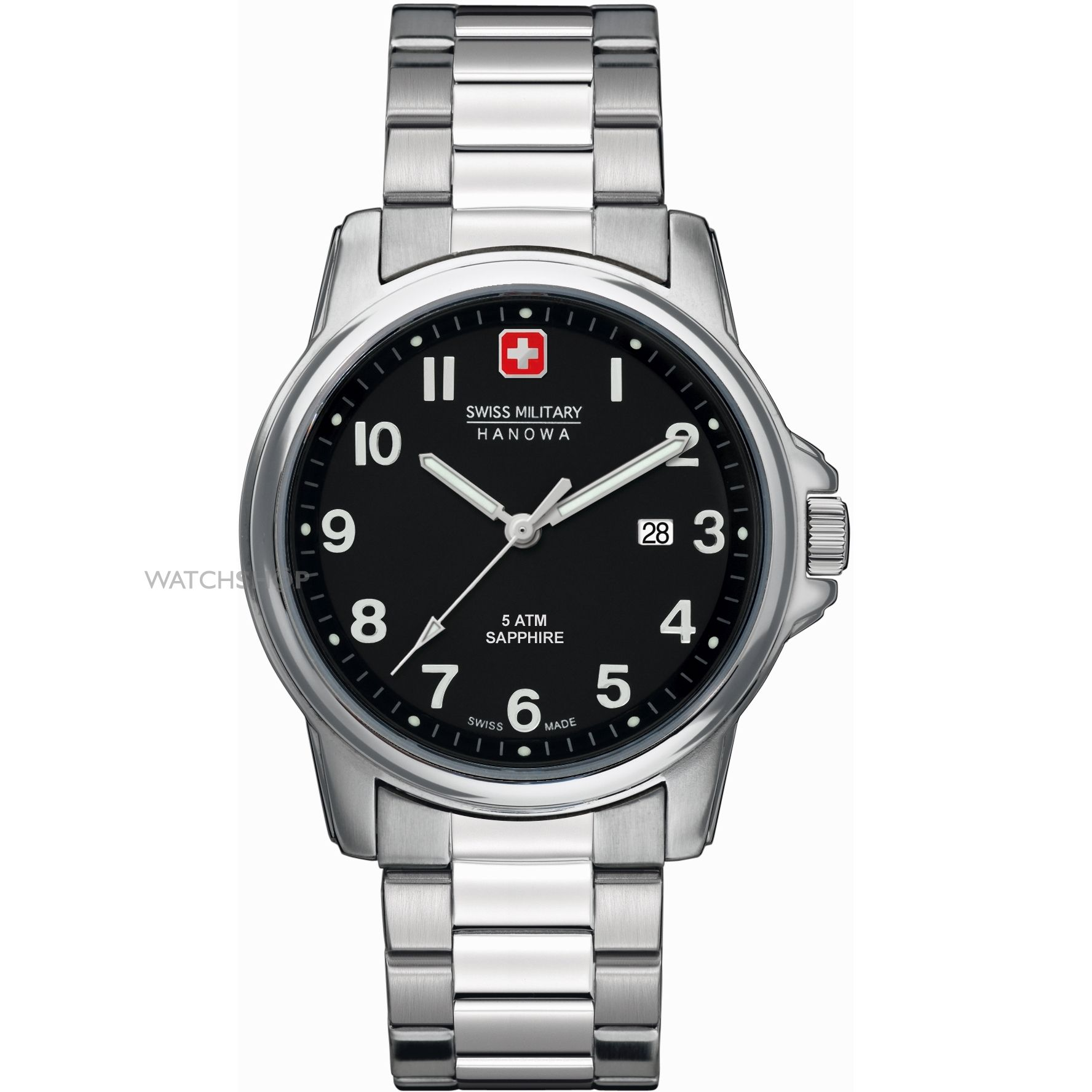 Swiss Military Swiss Soldier Prime Men's Quartz Watch with Black Dial Analogue Display and Silver Stainless Steel Bracelet 6-5231.04.007