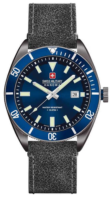 Swiss Military Skipper Men's Quartz Watch with Blue Dial Analogue Display and Black Leather Strap 6-4214.30.003